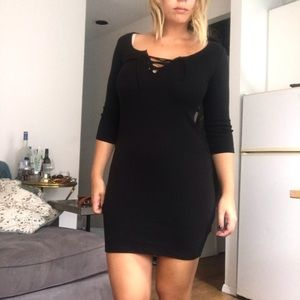 Top shop black dress with lace up
